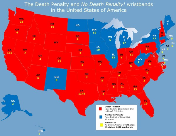 Death Penalty and Wristbands by State